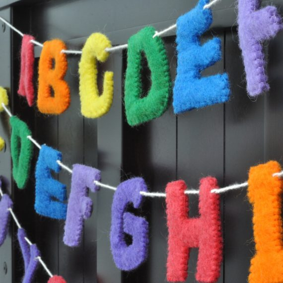 handmade uppercase letters garland school room decor