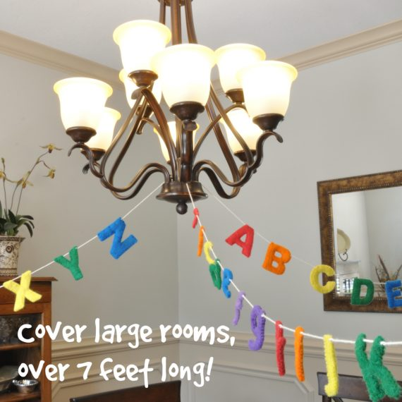 long alphabet garland for play room decor
