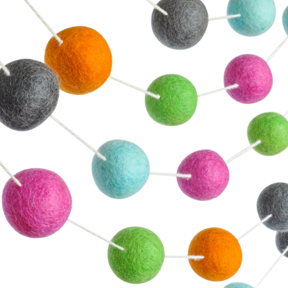 100 Wool Felt Ball Garland Large 1 5 Pom Pom Balls Colorful Banner Is 10 Feet Long Bright Colored Kids Teepee Tent And Birthday Party Decorations Perfect For Kid S Room And Nursery Decor