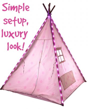 pink led string lights for kids teepees