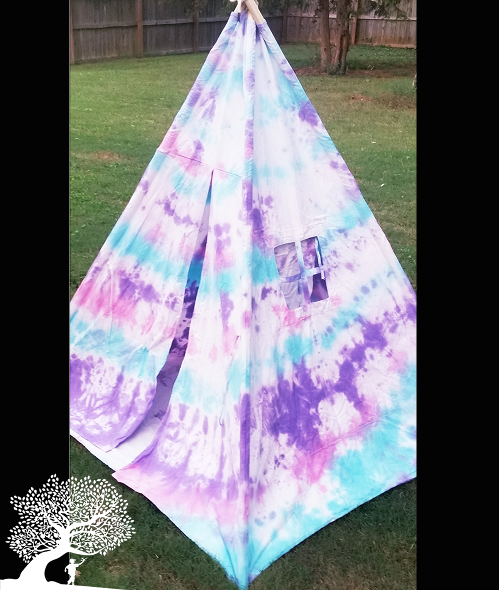 spiral tie dye teepee