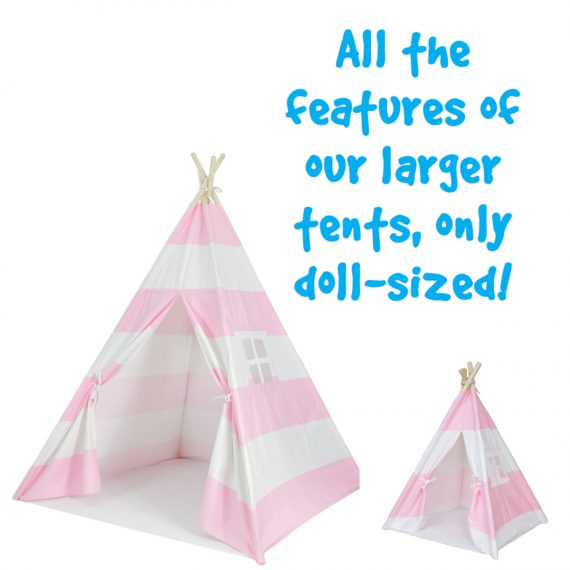 18 inch doll sized canvas teepee tent for kids