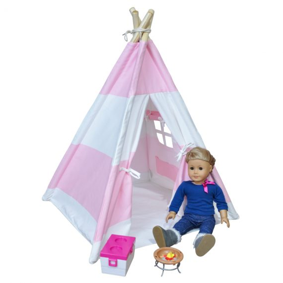 American doll teepee tent for camping, your girl will love the pink!