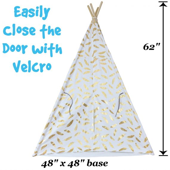 kids teepee tent with gold feathers