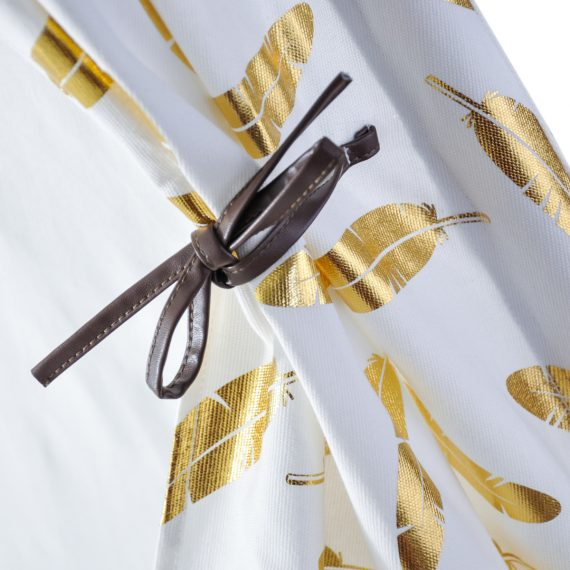 kids play tent with metalic gold feathers