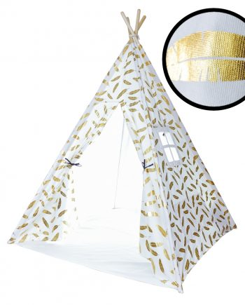 kids teepee with metallic gold feathers