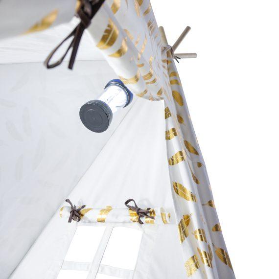 metallic gold feather teepee with Lantern 1200sq web