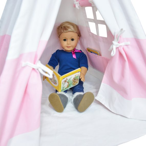 18″ doll reading inside of cotton canvas teepee camping tent