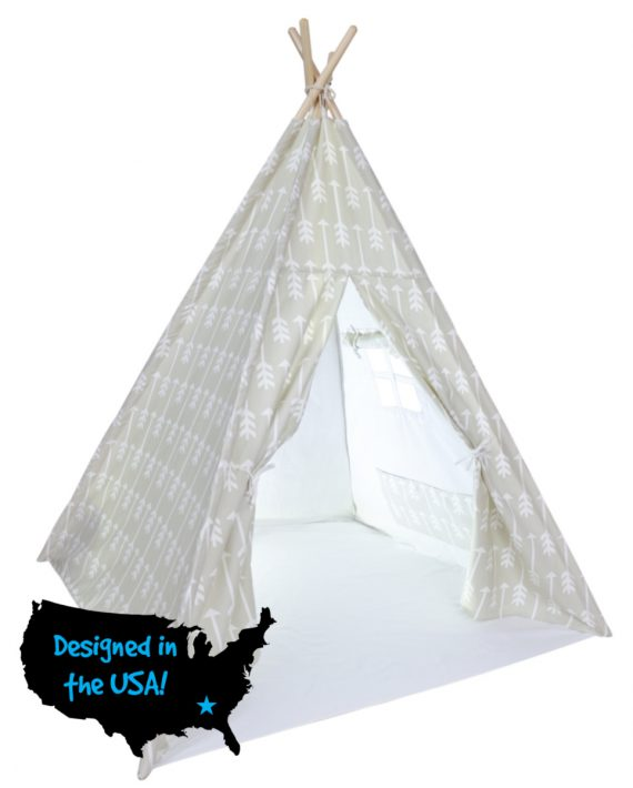 Teepee tent for boys and girls, beige arrows, Inside USA web