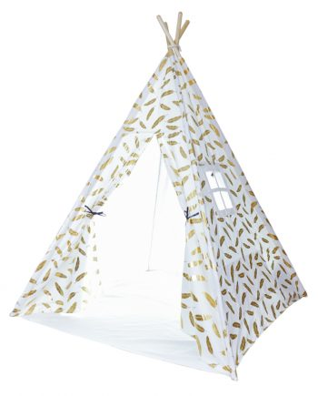 gold feather teepee tent for kids indoor play area